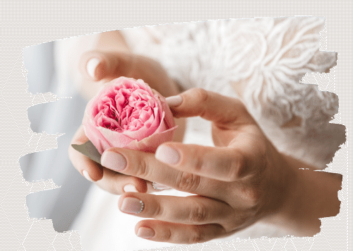 Bride With Beautiful Nails and Rose
