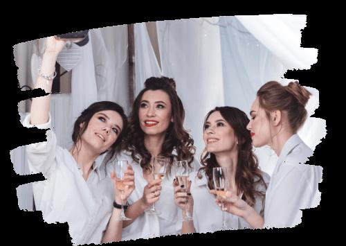 Elegant Ladies in White Partying