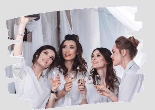 Elegant Ladies in White Partying